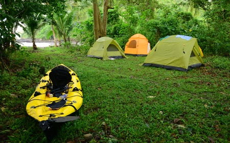 kayaking and camping in tropical location in Panama photo