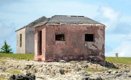 Some old abandoned houses near great isaac cay lighthouse in the bahamas