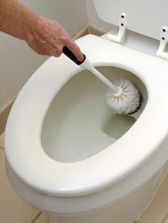 fregando: persona fregar un inodoro blanco con un cepillo