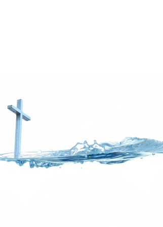 Holy water concept with a Christian cross and blue water Stock Photo