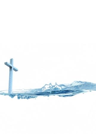 Wijwater concept met een christelijk kruis en blauw water Stockfoto
