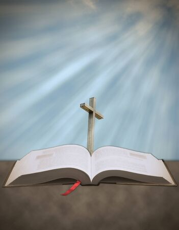 Concept of Sun rays shining down from heaven on a Christian cross with bible photo