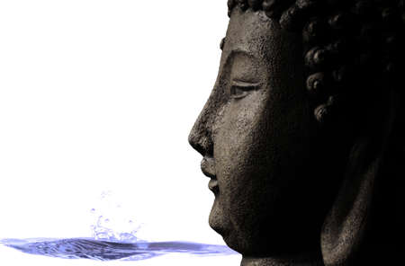 Background of Buddha with a blue stream of water for a tranquil scene