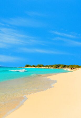 stunning tropical beach landscape with turquoise water and white sand with nobody photo
