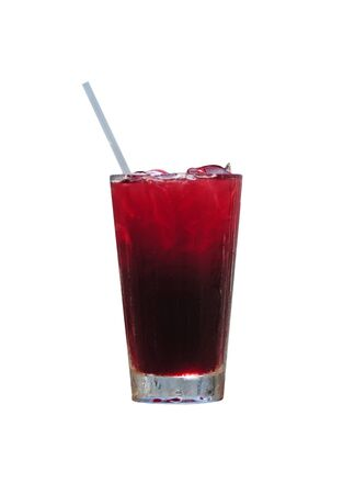 Red rum drink or cranberry juice against a white background Banco de Imagens