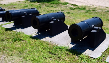 marcos: line of cannons ready for battle at Castillo de San Marcos fort