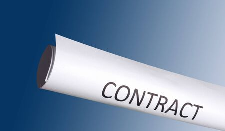 law business: business concept of contract on blue background