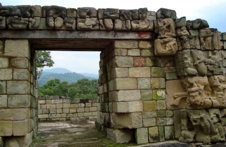 descendants: ancient mayan ruins - copan ruinas or copan ruins in Honduras Stock Photo