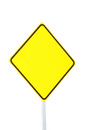 blank yellow warning sign on white with nobody Stok Fotoğraf