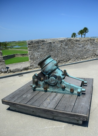 marcos: old cannon in Castillo de San Marcos fort in St. Augustine Stock Photo