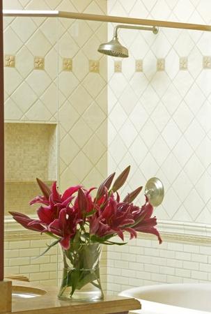 upscale: modern shower in a luxury bathroom in upscale home