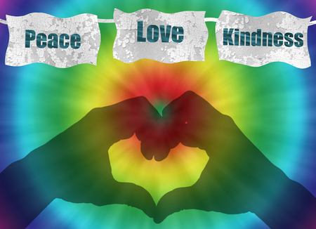 kindness: retro peace, love and kindness image with rainbow tie-dye