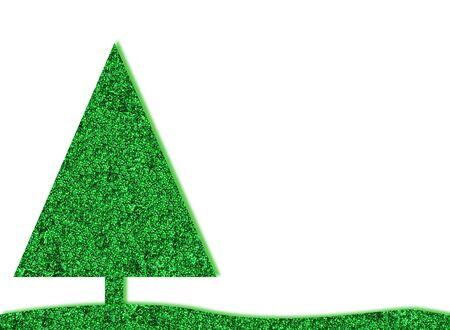 festive: green retro christmas tree with glitter background Stock Photo