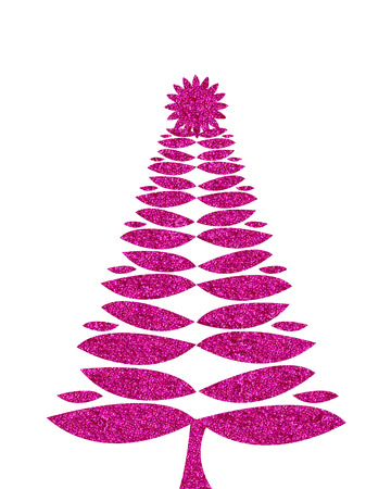 glitzy: hot pink christmas tree illustration with glitter Stock Photo