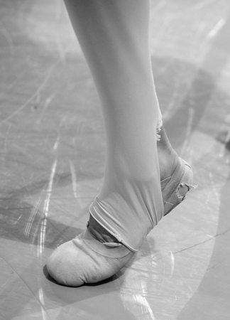 worn out shoes on a ballet dancer to show sore dancers feet photo
