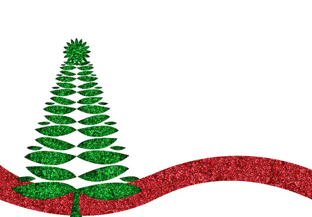 glitzy: green and red glitter retro christmas tree background Stock Photo