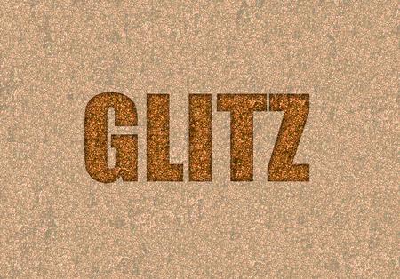 glitz: glitz text written in gold glitter Stock Photo