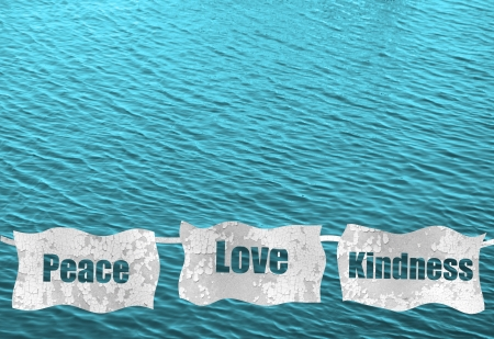 peace, love and kindness on blue ocean background Banco de Imagens