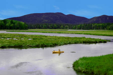 unspoiled: kayaking in summer landscape in northeast in unspoiled nature