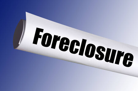 legal foreclosure notice on blue background photo