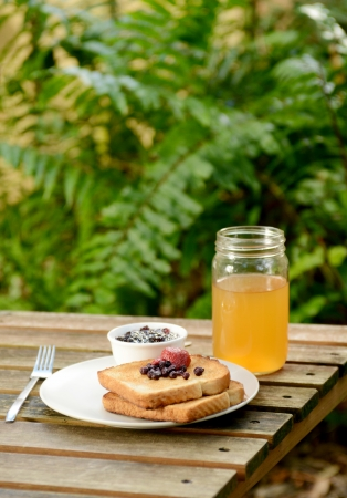 toast, apple juice and jam on picnic table in summer photo