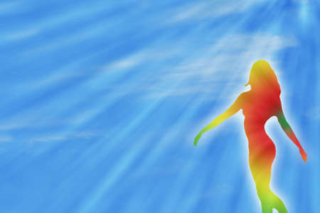 dancing rainbow girl illustration and sunrays during summer to express joy