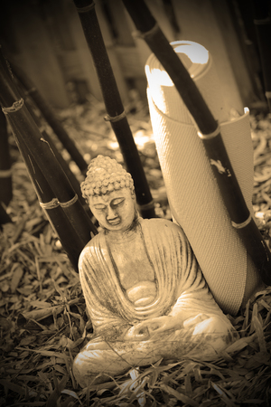 a buddha meditating with yoga mat in sepia photo