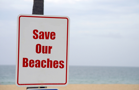 bescherming van de oceanen en op te slaan onze stranden teken