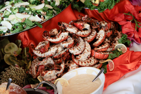 expensive: lobster buffet at high-end dinner