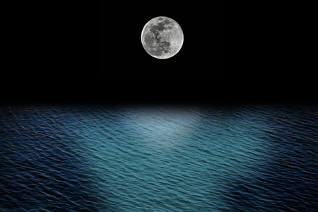 refelction: full moon and tides concept with ocean