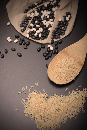 country store: rustic beans and rice to make a complete protein Stock Photo