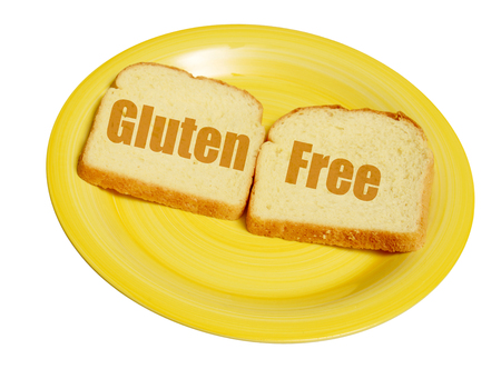 Gluten free bread on a yellow plate