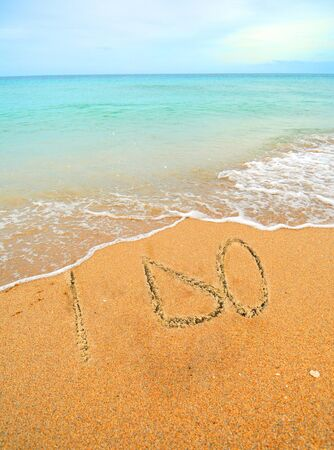comunicación escrita: i no escrito en la arena en la orilla de un concepto de la boda