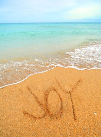 written communication: joy written in the sand on the shoreline at the beach