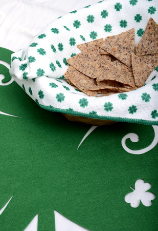 Saint Patricks Day snack on green placemat