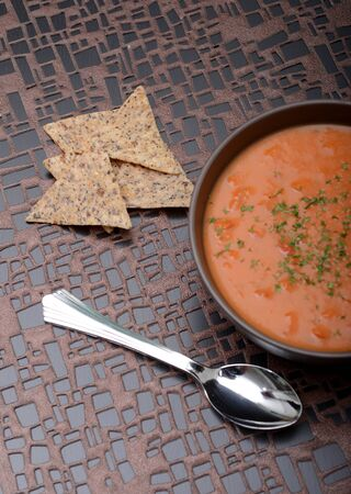 vegan tomato soup and chips in winter