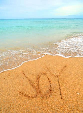 comunicaci�n escrita: alegr�a escrito en la arena en la costa en la playa Foto de archivo