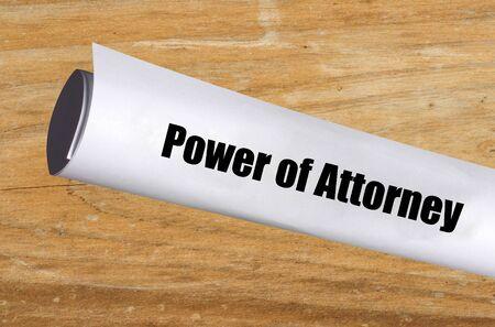 legal power of attorney document on wood background Zdjęcie Seryjne