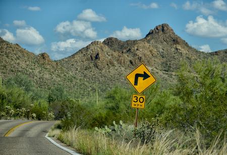 tuscon: sharp 30 miles per hour turn on mountain road