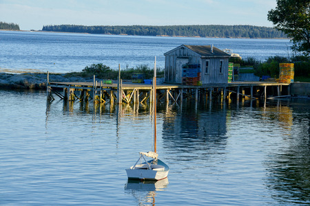 lobster boat: Quaint fishing village in Maine near Acadia National Park
