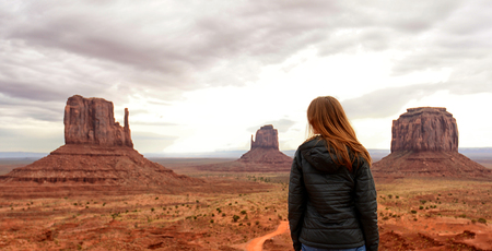 wanderlust: Wanderlust, Solitude and Travel to the Desert in Monument Valley Stock Photo