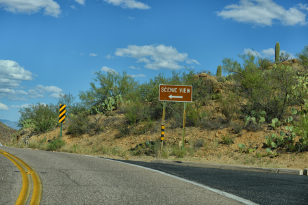 tuscon: scenic view sign off of road in arizona on a curvy road