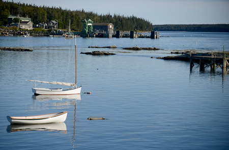 lobster boat: Scenic fishing village and sailboat in Maine near Acadia National Park Stock Photo