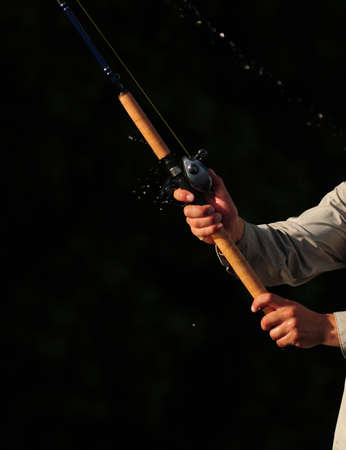 freshwater fish: Close up of a Rod and reel and fishing
