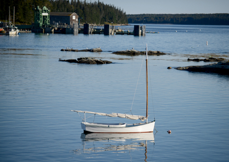 lobster boat: Sailboat in quaint and rural  fishing village in Maine near Acadia National Park