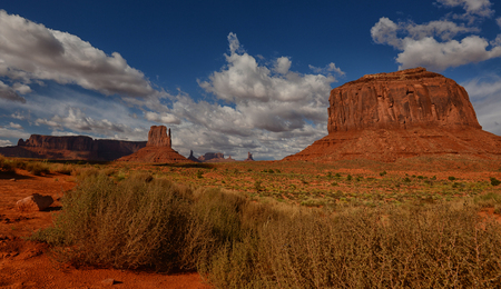 Monument Valley and famous desert monuments from old west Stock Photo