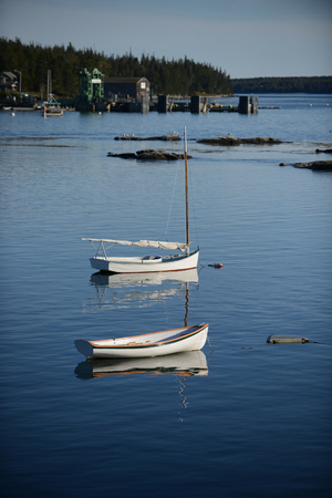 lobster boat: Boats in Rural fishing village  in Maine near Acadia National Park