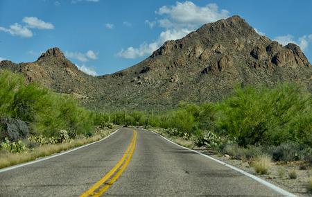 tuscon: empty street on road trip through the american southwest