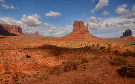 Monument Valley, the mitten monuments,  and buttes with steep hills and flat tops