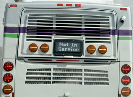 not in service sign on the back of a bus Imagens